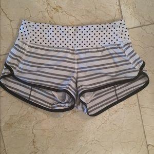 Lululemon White Striped Shorts Size 2